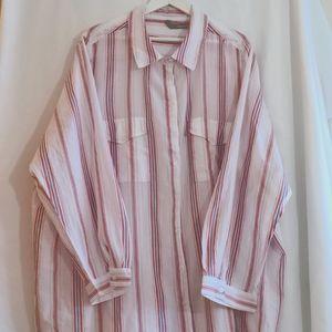 Pink blue & white stripe cotton button down blouse